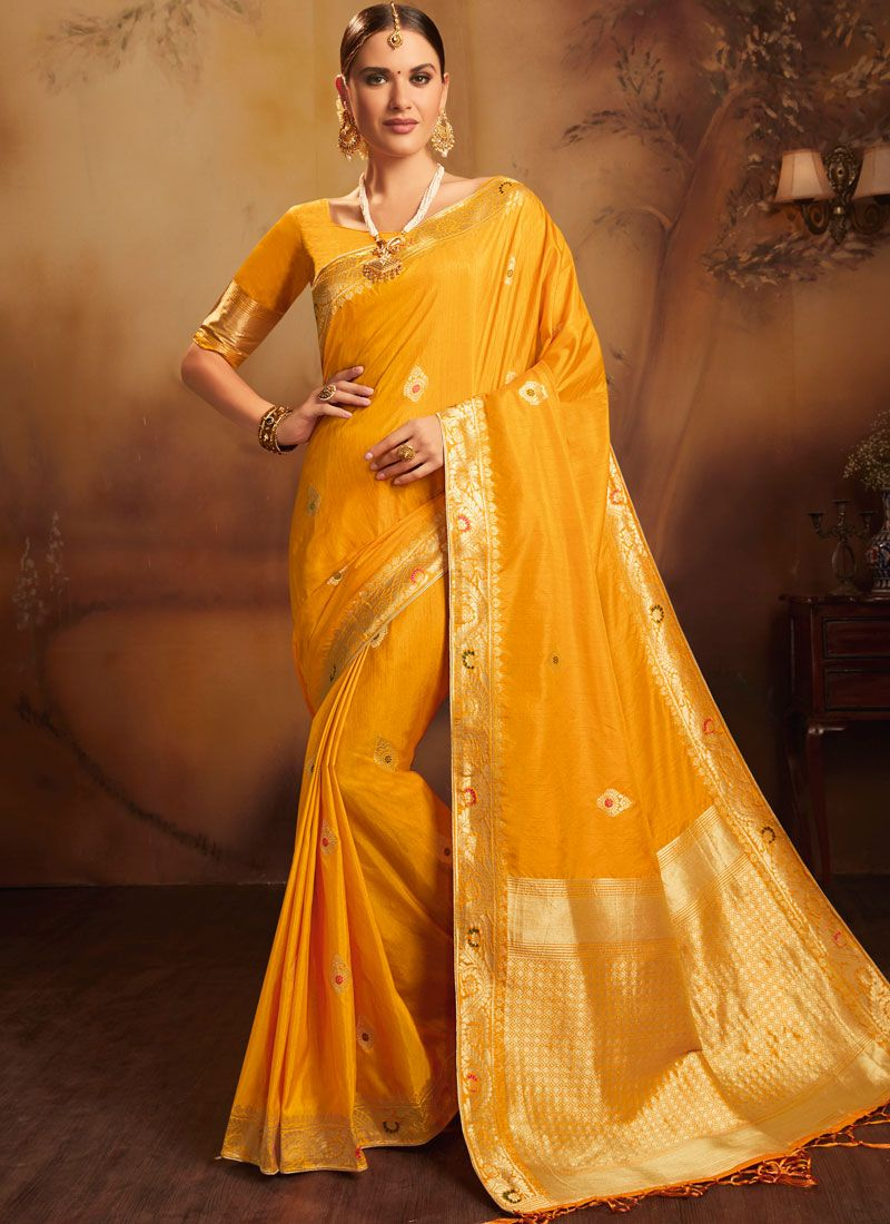 Weaving Yellow Traditional Designer Saree
