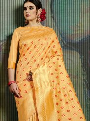 Weaving Yellow Traditional Saree
