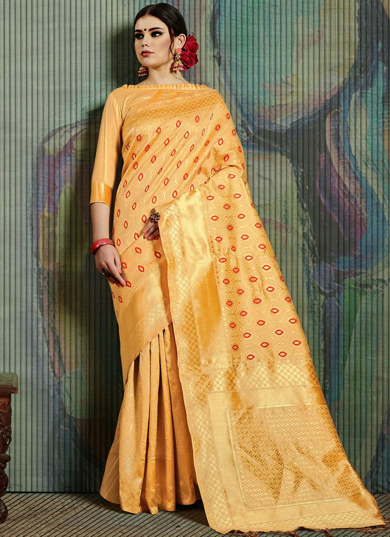 Weaving Yellow Traditional Saree
