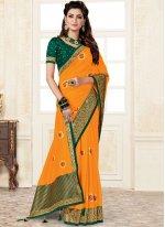 Weaving Yellow Trendy Saree