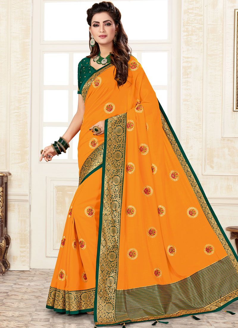 Weaving Yellow Trendy Saree