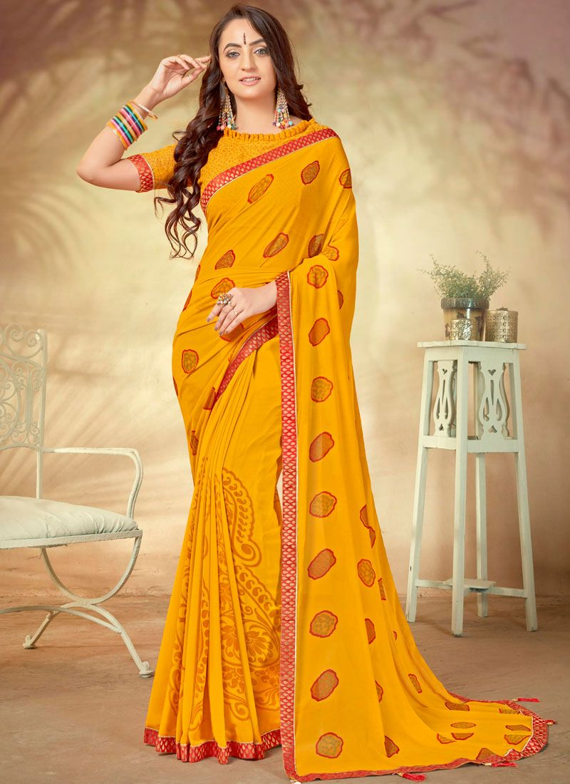 Weight Less Abstract Print Printed Saree in Yellow