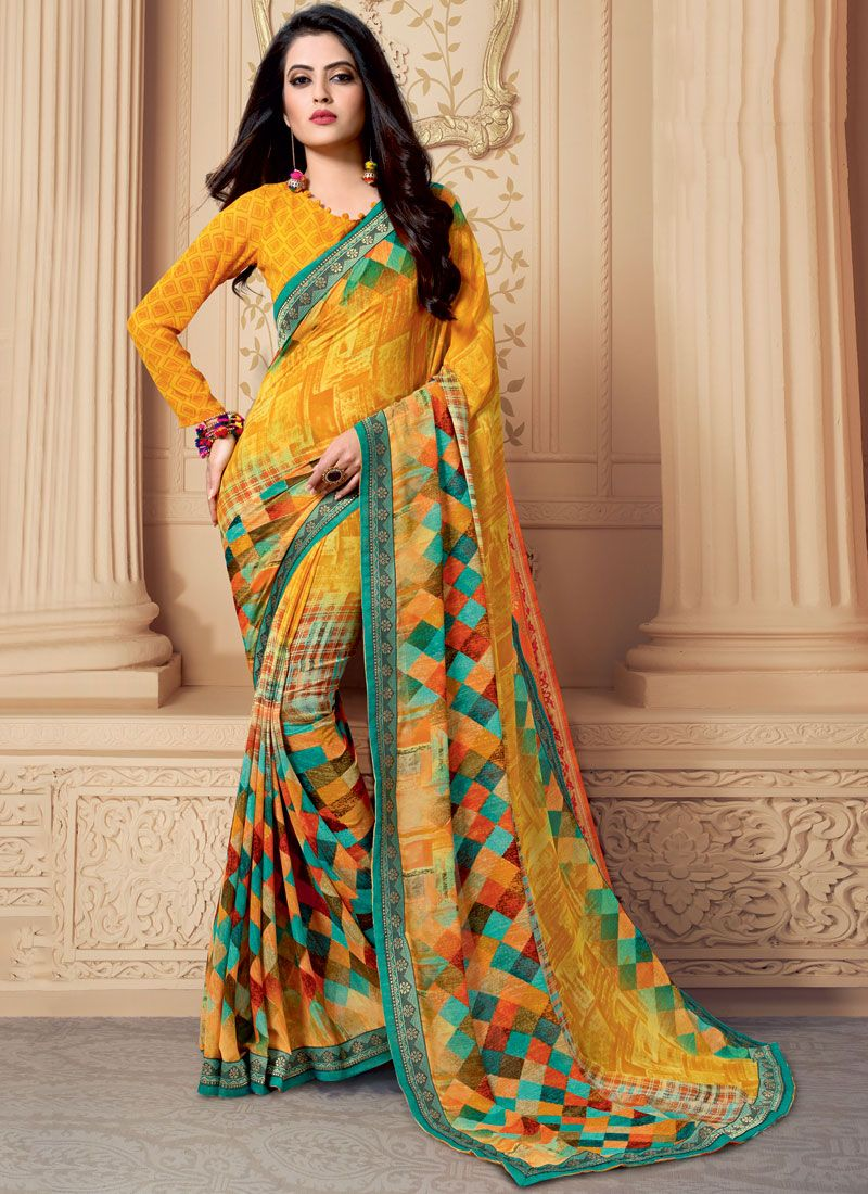 Weight Less Multi Colour Patch Border Casual Saree
