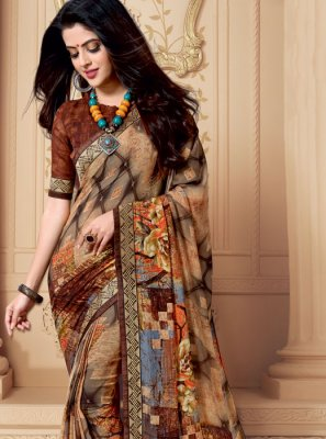Weight Less Patch Border Casual Saree in Multi Colour