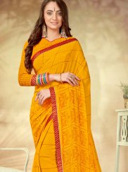 Weight Less Printed Saree in Yellow