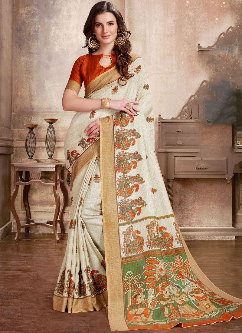 White Abstract Print Manipuri Silk Printed Saree