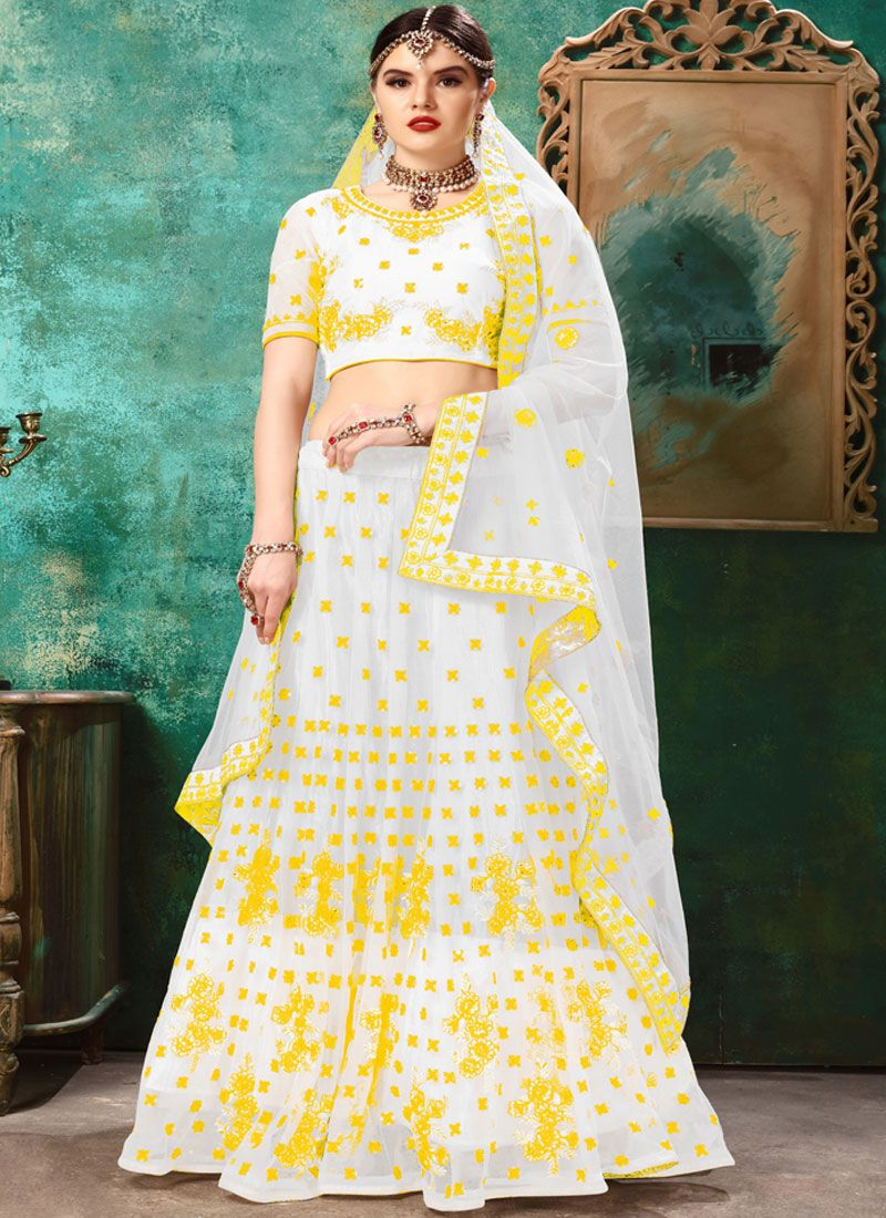 White and Yellow Lehenga Choli