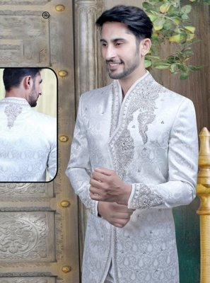 White Art Banarasi Silk Reception Sherwani