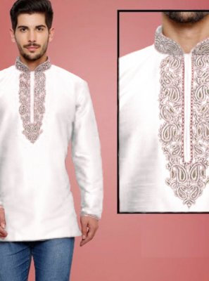 White Art Dupion Silk Kurta