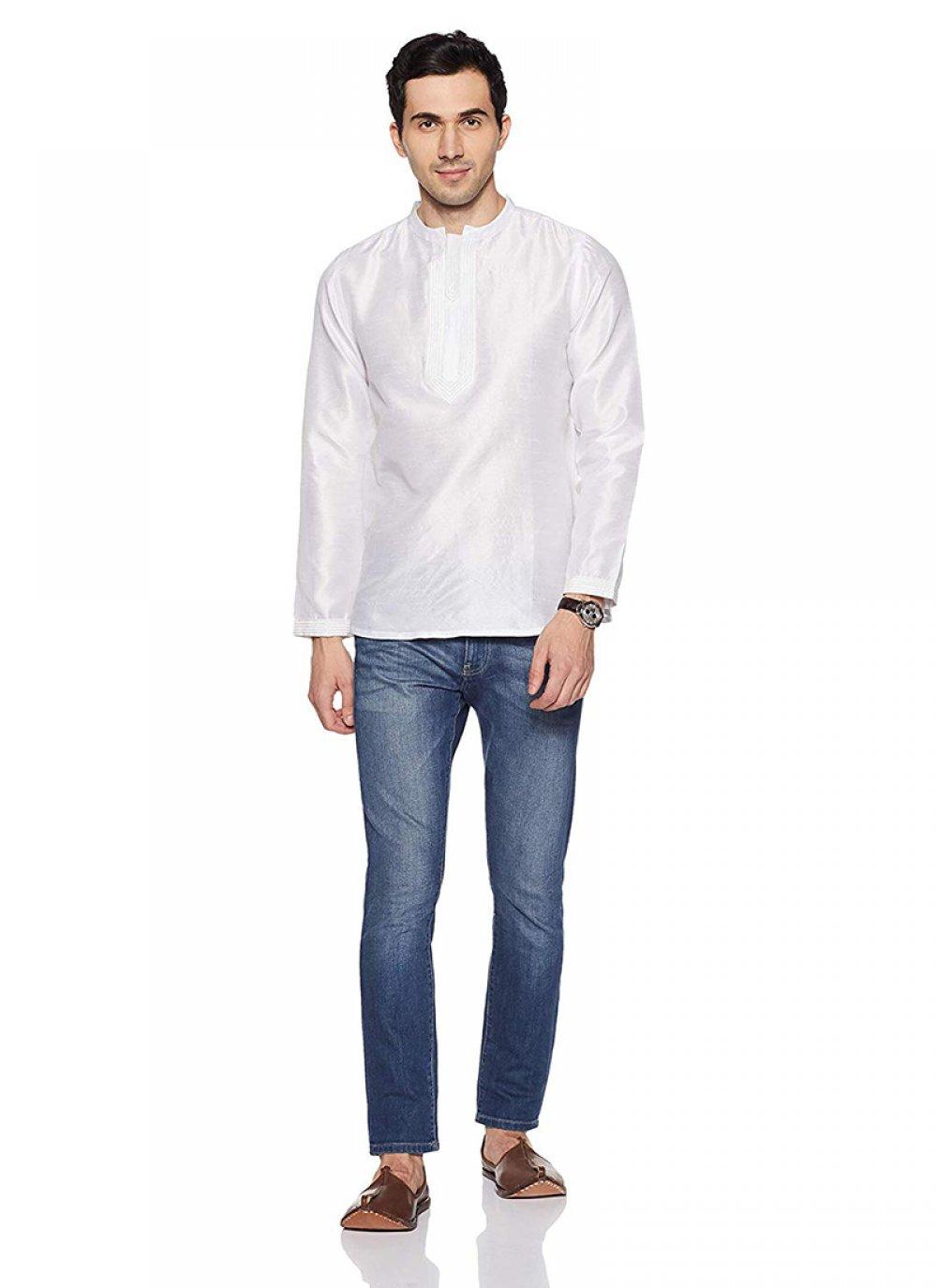 White Art Dupion Silk Plain Kurta