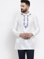 White Art Dupion Silk Reception Kurta