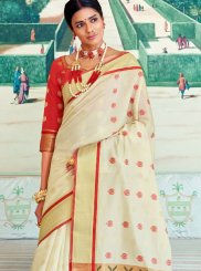 White Art Silk Ceremonial Designer Traditional Saree