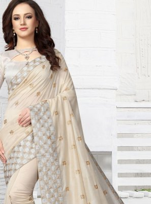 White Art Silk Festival Designer Traditional Saree