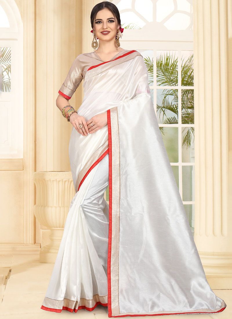 White Art Silk Patch Border Traditional Saree