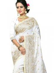 White Art Silk Traditional Designer Saree