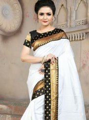 White Art Silk Traditional Saree