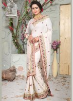 White Art Silk Wedding Traditional Designer Saree