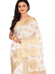 White Art Silk Wedding Traditional Designer Saree