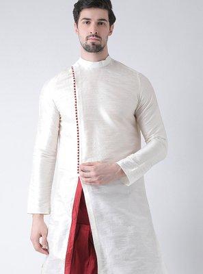White Ceremonial Art Dupion Silk Kurta Pyjama