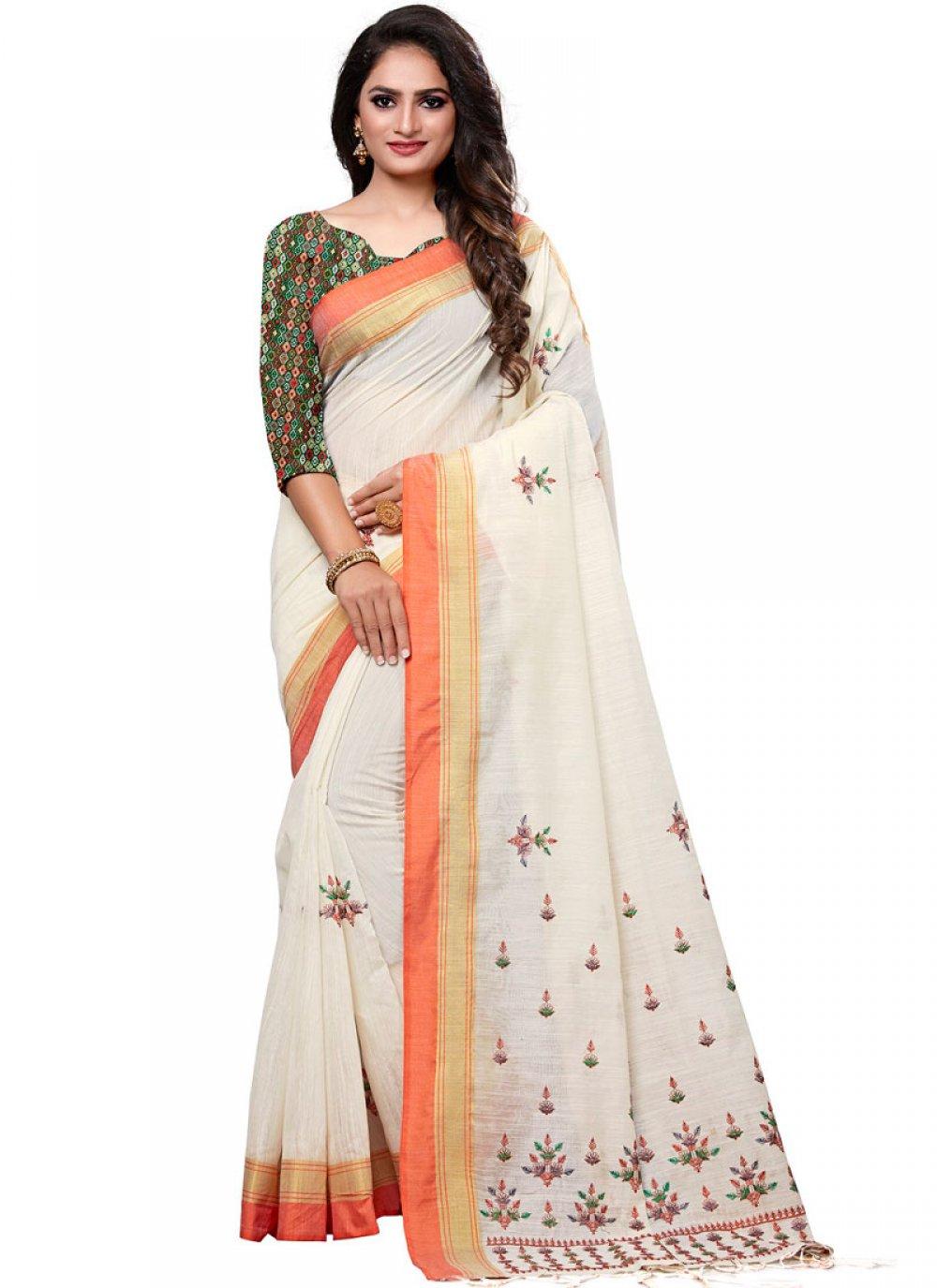 White Ceremonial Designer Traditional Saree