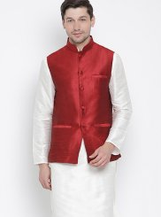 White Ceremonial Kurta Payjama With Jacket