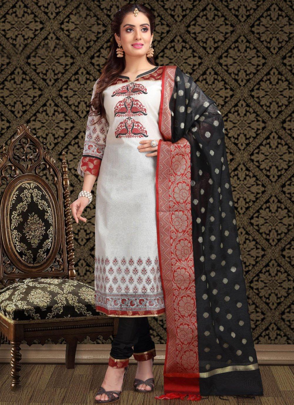 White Chanderi Churidar Designer Suit