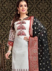 White Chanderi Churidar Designer Suit