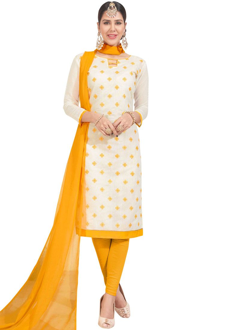 White Chanderi Embroidered Churidar Suit
