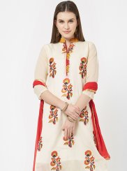 White Chanderi Print Designer Suit
