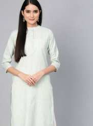White Cotton Casual Kurti
