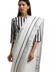 White Cotton Casual Saree