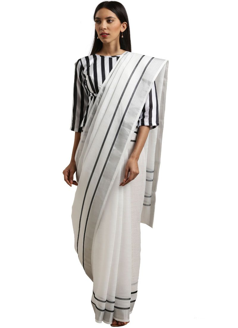 White Cotton Casual Saree