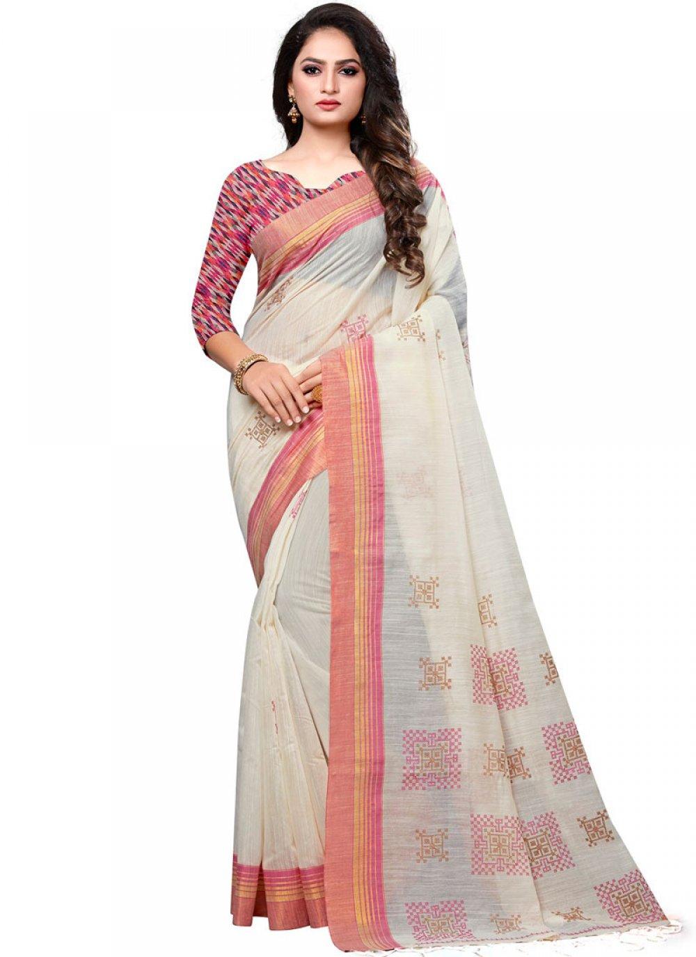 White Cotton Designer Traditional Saree