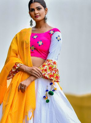 White Cotton Party Trendy Designer Lehenga Choli
