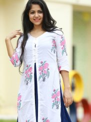 White Cotton Party Wear Kurti