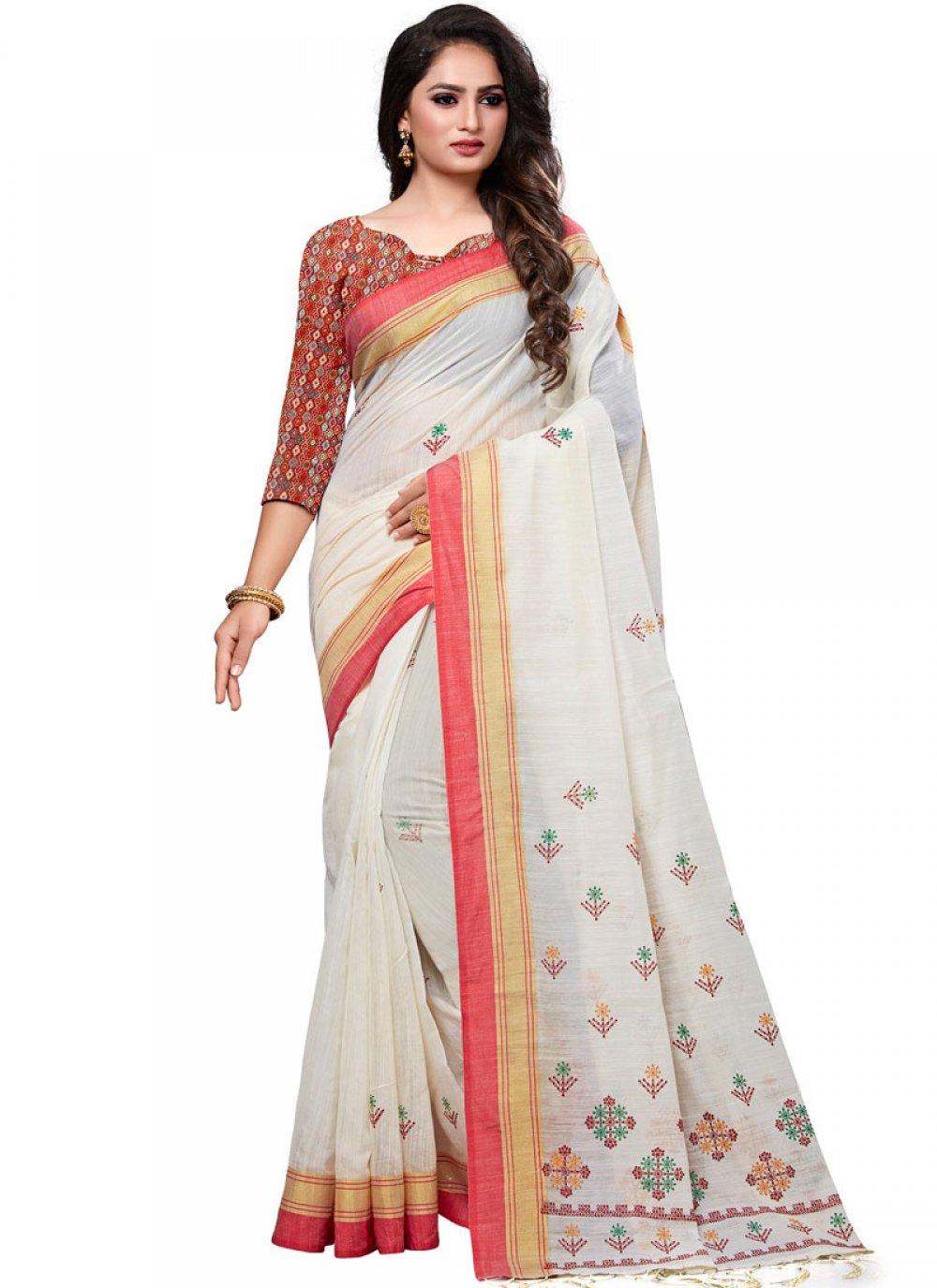 White Cotton Sangeet Designer Traditional Saree