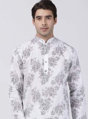 White Cotton Silk Machine Embroidery  Kurta Pyjama