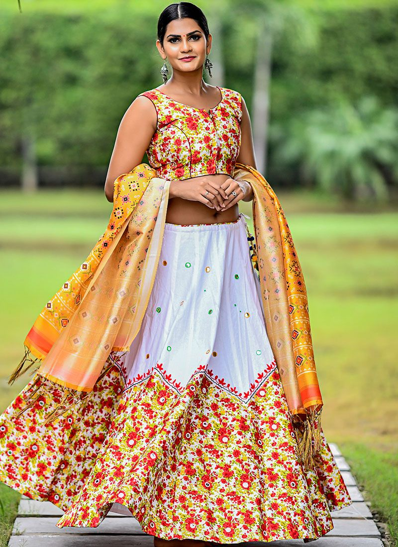 White Cotton Trendy Designer Lehenga Choli