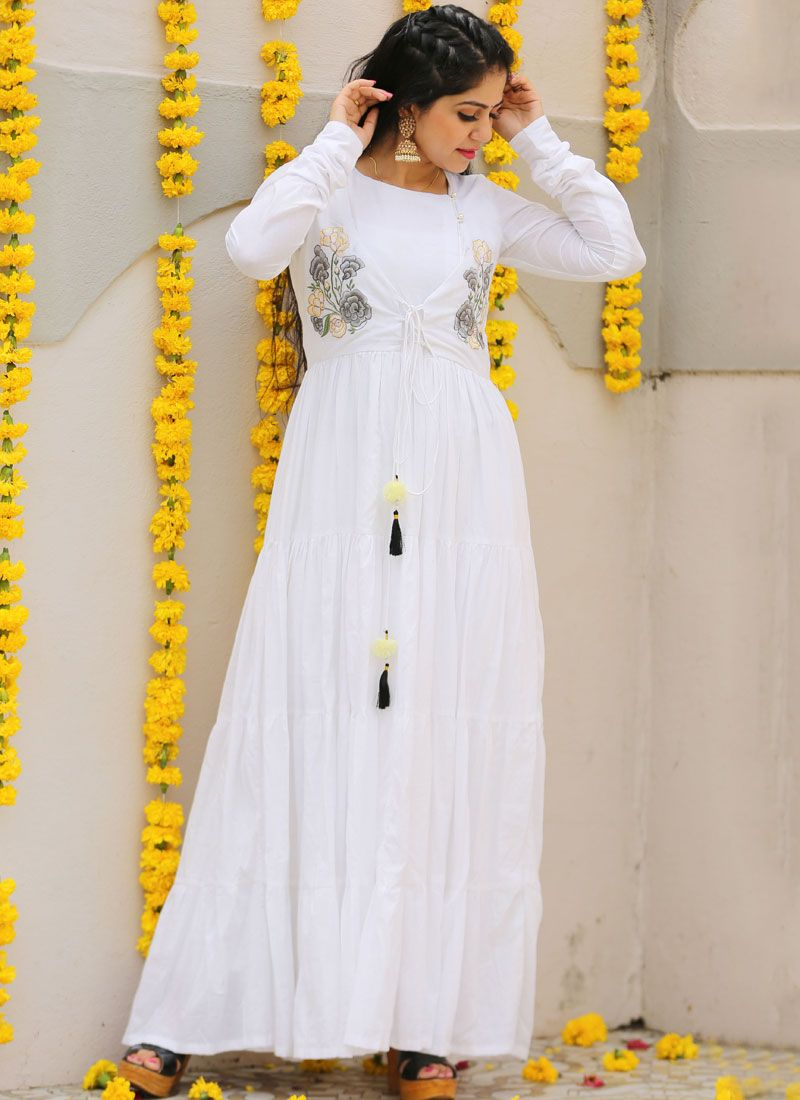 White Cotton Trendy Gown