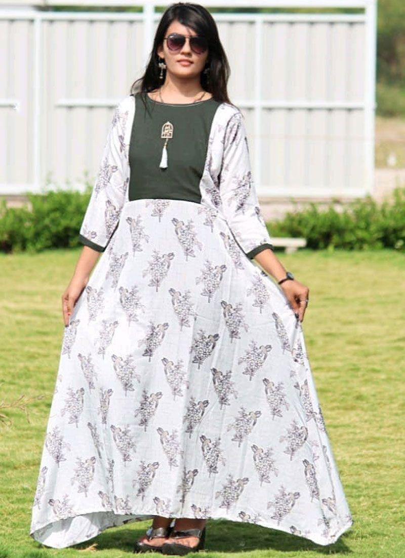White Digital Print Festival Designer Gown