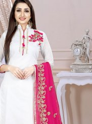 White Embroidered Art Silk Churidar Designer Suit