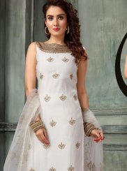 White Embroidered Ceremonial Readymade Suit