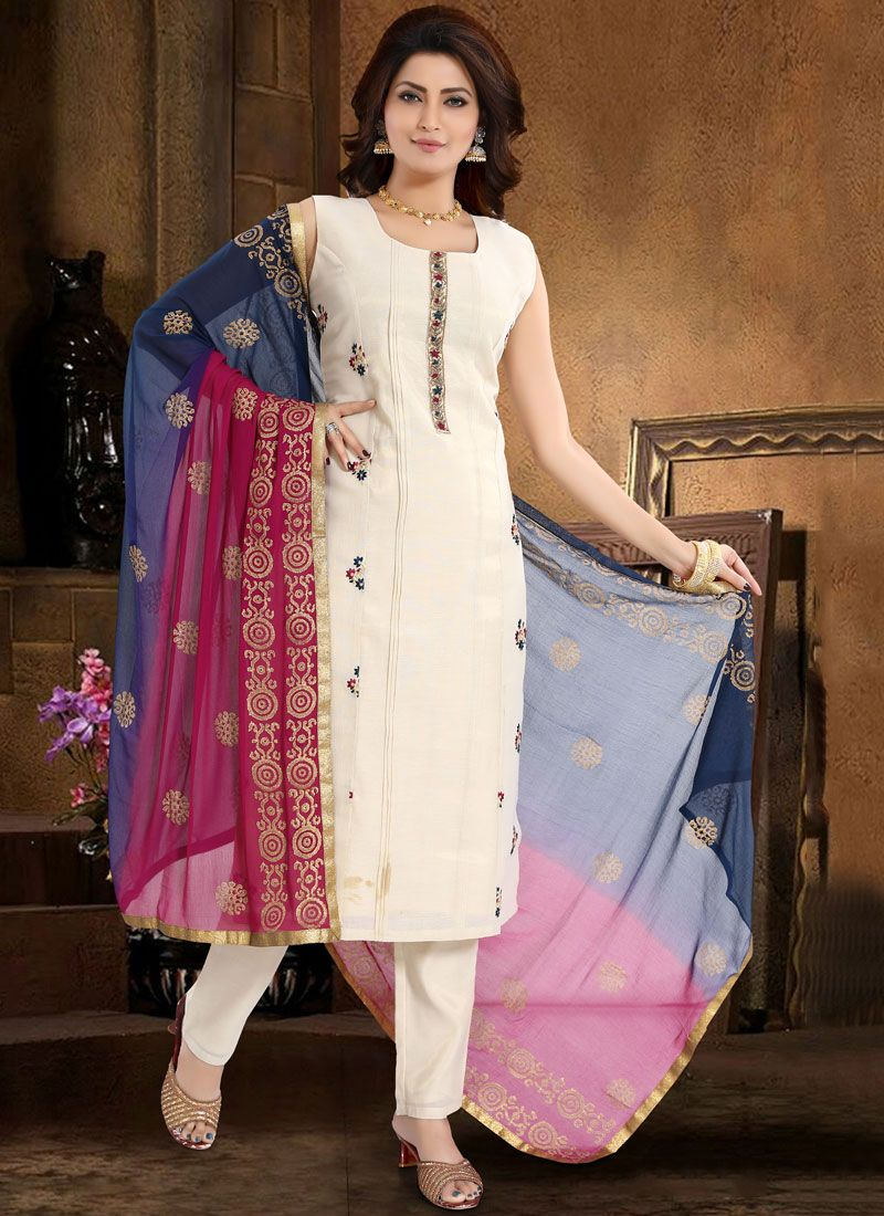 White Embroidered Chanderi Readymade Suit