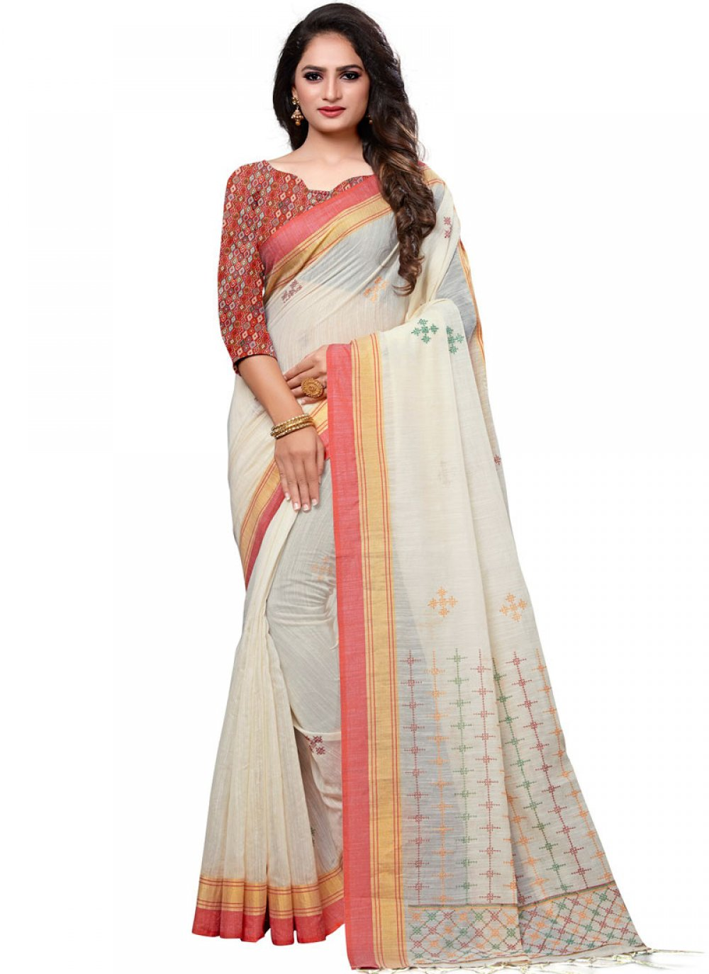 White Embroidered Designer Traditional Saree