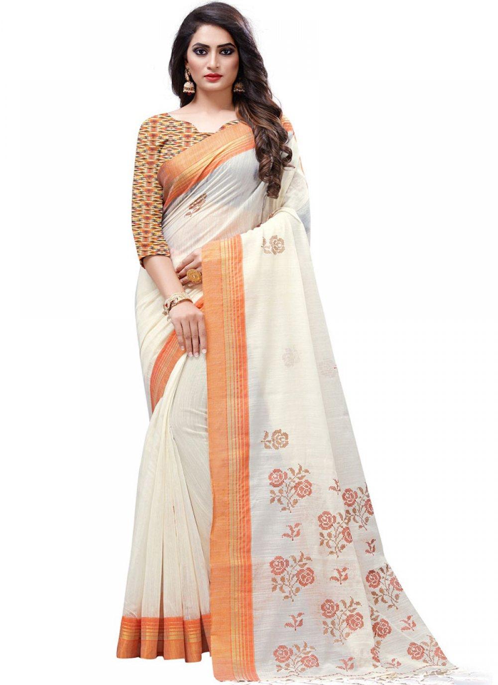 White Embroidered Designer Traditional Saree