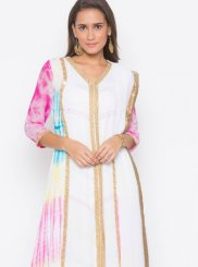 White Embroidered Faux Georgette Readymade Suit