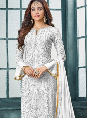 White Embroidered Faux Georgette Trendy Pakistani Salwar Kameez