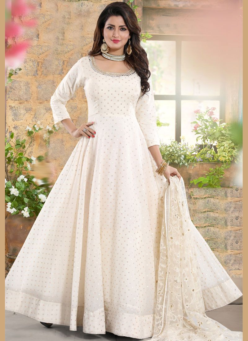 White Embroidered Readymade Suit