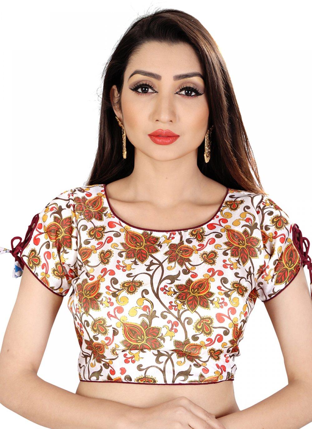 White Embroidered Reception Designer Blouse