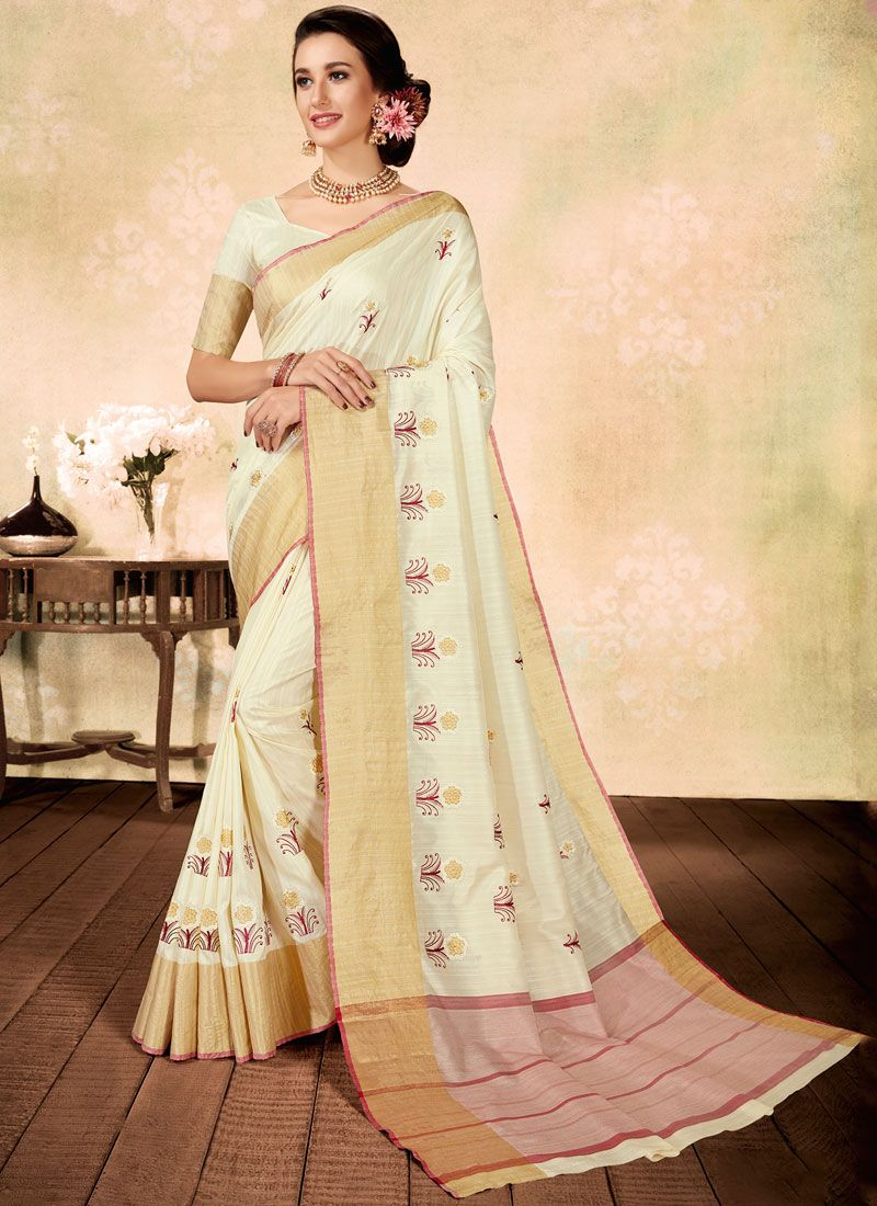 White Fancy Fabric Ceremonial Classic Designer Saree